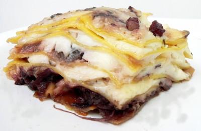 Lasagne con radicchio e pancetta