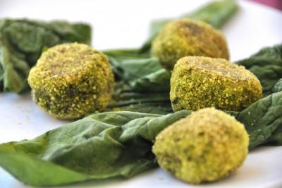 Polpette vegetariane con mozzarella e spinaci