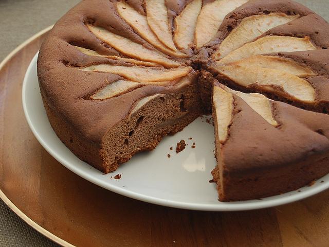 Torta con cioccolato e pere