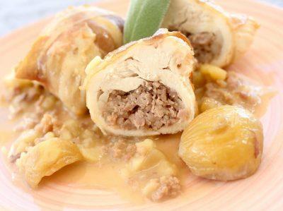 Involtini di pollo con salsiccia e castagne