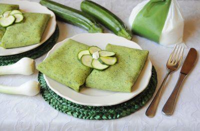 Crepes verdi ripiene di zucchine