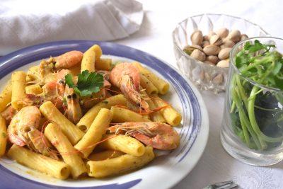 Pasta pistacchio e gamberi