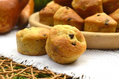 Muffin pere, cioccolato e zenzero