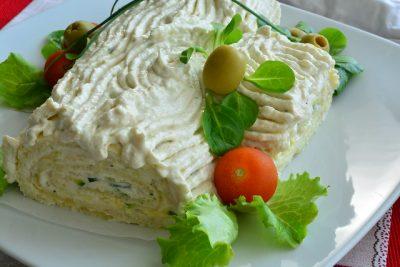 Tronchetto salato estivo zucchine e gamberetti